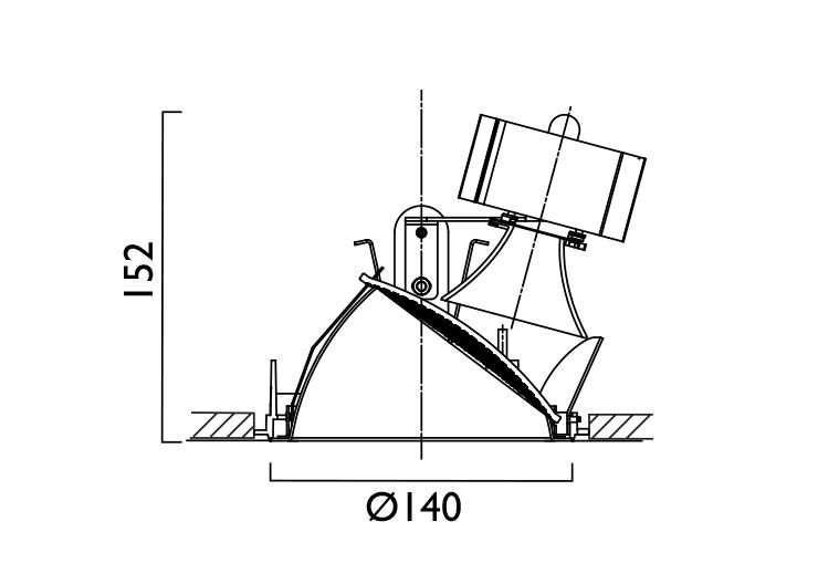 VP X140 Lens Wallwasher Line Drawing